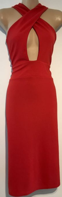MISSGUIDED RED KNEE LENGTH PARTY DRESS SIZE 14
